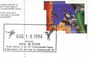 Francobollo emesso dal Canada nel 1994 in occasione dei Giochi del Commonwealth del 1994 che si svolsero a Victoria,British Columbia (Canada) in cui il Lacrosse fu sport dimostrativo