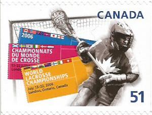 Francobollo emesso dal Canada nel 2006 per commemorare i Campionati del Mondo di Lacrosse svolti a London, Ontario (Canada) nel 2006, a cui ha partecipato anche l'Italia giungendo al 10 posto