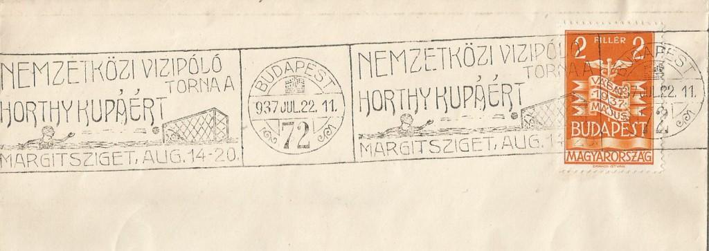 I due annulli del 22 Luglio 1937 risulterebbero essere tra i primi, se non i primi, pezzi filatelici dedicati alla pallanuoto