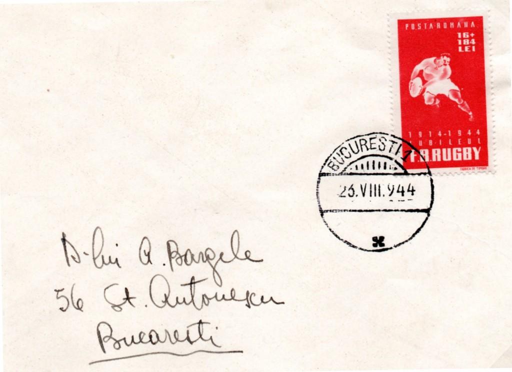Busta affrancata nel 1944 con il  francobollo commemorativo del 30 anniversario della FFR